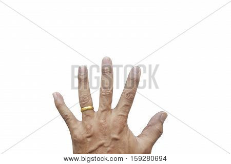 Man's hand wearing a wedding ring on his left ring finger isolated on white background.