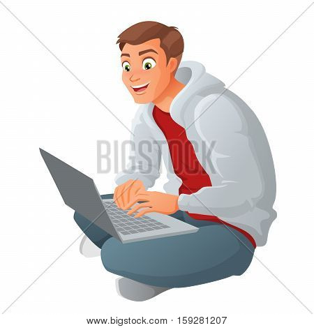 Happy young business man working on a laptop sitting on floor. Cartoon vector illustration isolated on white background.