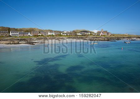 Clear blue turquoise sea Scottish island of Iona Scotland uk Inner Hebrides off the Isle of Mull west coast of Scotland