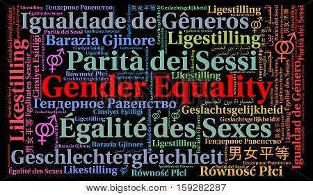 Gender equality word cloud in different languages