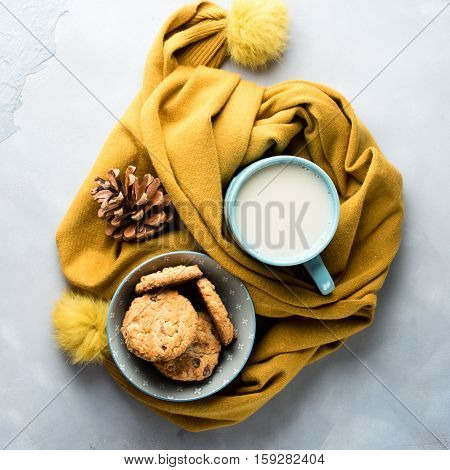Mug Of Tea With Milk And Cookies. Winter Relax Square