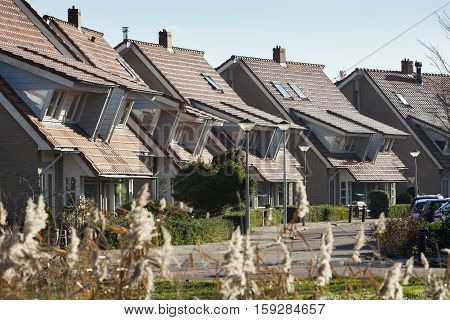 Houses in a residential district with dormers in the Netherlands