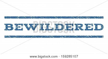 Bewildered watermark stamp. Text caption between horizontal parallel lines with grunge design style. Rubber seal cobalt blue stamp with unclean texture. Vector ink imprint on a white background.