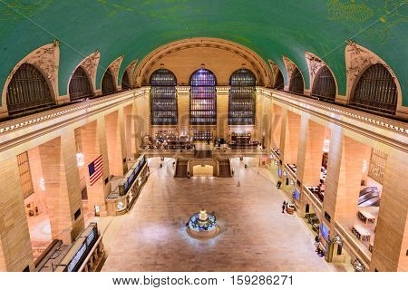 NEW YORK CITY - OCTOBER 28, 2016:Aerial view of the concourse at historic Grand central Terminal.