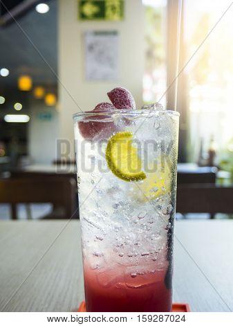 Sparkling strawberry soda refresh drink, reboot energy