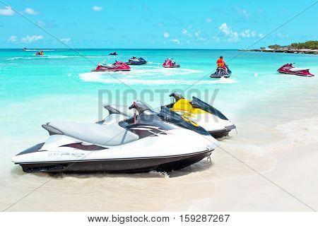 Jet ski's in the caribbean sea on Aruba island in the Caribbbean