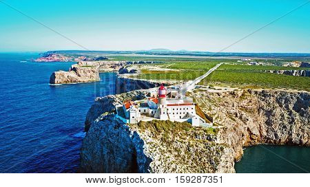 Aerial from lighthouse Cabo Vicente in Sagres Portugal