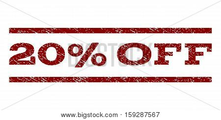 20 Percent Off watermark stamp. Text caption between horizontal parallel lines with grunge design style. Rubber seal dark red stamp with dust texture. Vector ink imprint on a white background.