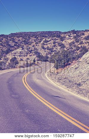 Vintage Toned Scenic Curved Road, Travel Concept Background, Colorado, Usa