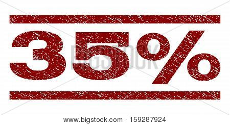 35 Percent watermark stamp. Text tag between horizontal parallel lines with grunge design style. Rubber seal dark red stamp with scratched texture. Vector ink imprint on a white background.