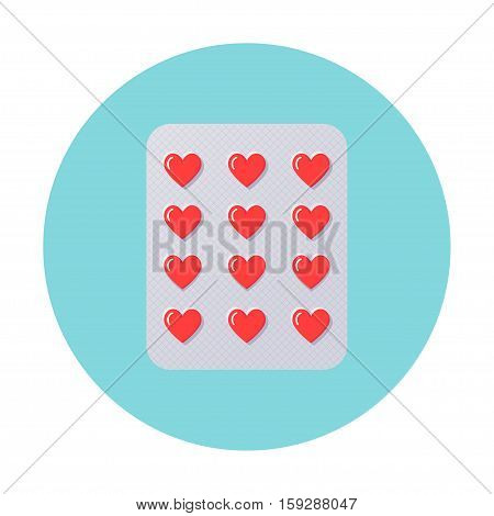 Heart Pills in Blister Pack. Love, Therapy, Counseling Illustration. Vector Design