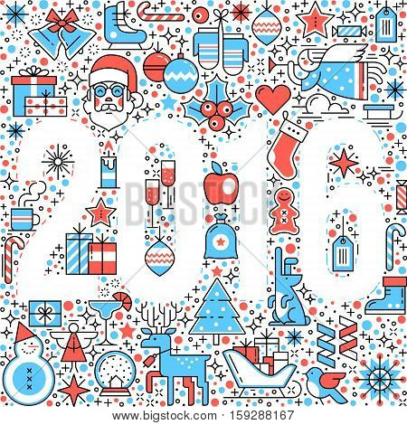 New 2016 year inverse digits in Merry Christmas pattern. Flat style thin line art color icons set isolated on white background.