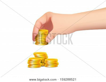 hand with coin isolated on white background .
