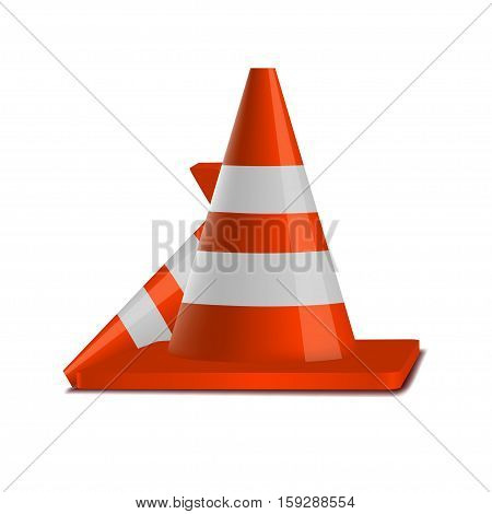 Traffic cones vector  isolated on white background