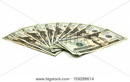 Close up of twenty dollar isolate on white background.