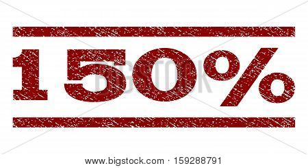 150 Percent watermark stamp. Text caption between horizontal parallel lines with grunge design style. Rubber seal dark red stamp with unclean texture. Vector ink imprint on a white background.