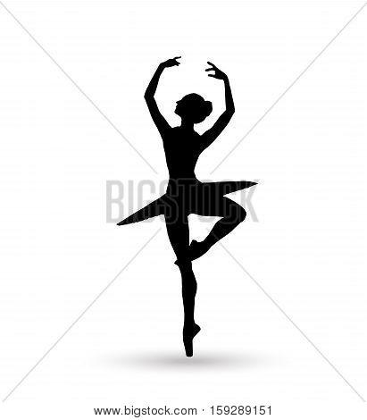 Ballerina. Dance girl silhouette isolated on white background. Ballet banner. Vector illustration. Ballet dancer