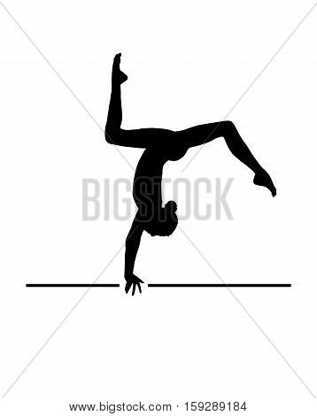 Gymnast Girl silhouette isolated on white background. Gymnastics young woman, banner. Vector Illustration