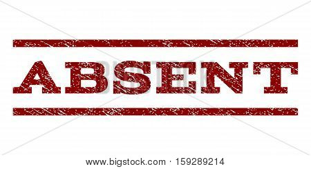 Absent watermark stamp. Text caption between horizontal parallel lines with grunge design style. Rubber seal dark red stamp with dust texture. Vector ink imprint on a white background.