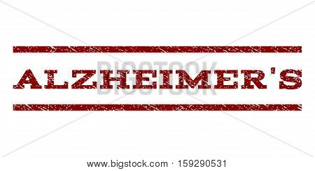 Alzheimer'S watermark stamp. Text caption between horizontal parallel lines with grunge design style. Rubber seal dark red stamp with unclean texture. Vector ink imprint on a white background.