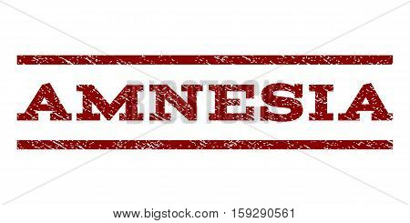 Amnesia watermark stamp. Text caption between horizontal parallel lines with grunge design style. Rubber seal dark red stamp with dust texture. Vector ink imprint on a white background.