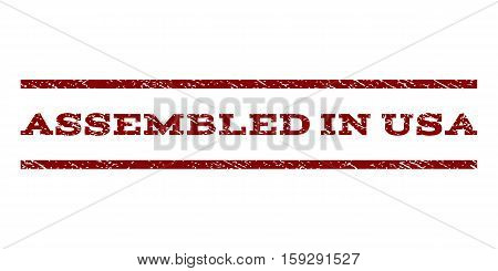 Assembled In USA watermark stamp. Text tag between horizontal parallel lines with grunge design style. Rubber seal dark red stamp with scratched texture. Vector ink imprint on a white background.