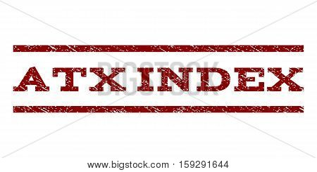 Atx Index watermark stamp. Text caption between horizontal parallel lines with grunge design style. Rubber seal dark red stamp with dust texture. Vector ink imprint on a white background.
