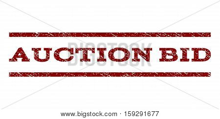 Auction Bid watermark stamp. Text caption between horizontal parallel lines with grunge design style. Rubber seal dark red stamp with scratched texture. Vector ink imprint on a white background.