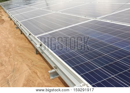 On Ground Solar PV Panels close up
