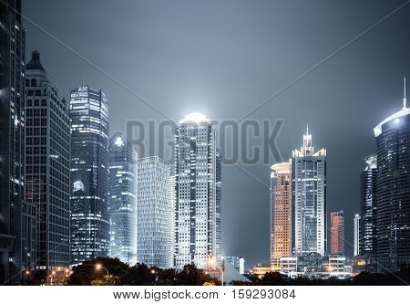 shanghai modern buildings skyline at night in lujiazui financial and trade zone