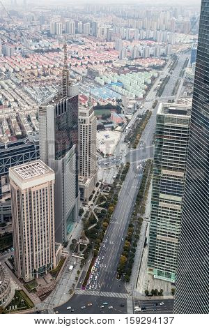 overlooking the century avenue and modern building in shanghai lujiazui