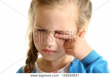 Portrait of crying little girl on white background