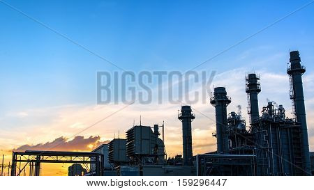 Gas turbine electric power plant with blue sky