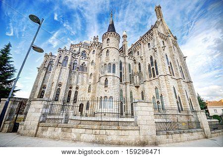 Famous landmark Astorga Epsiscopal Palace in Astorga Leon Spain.