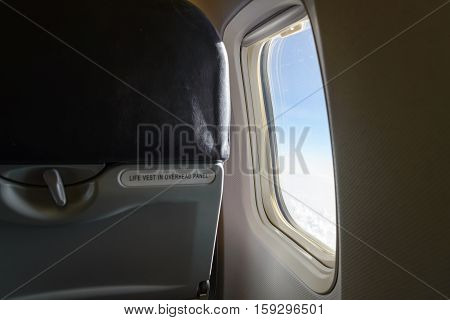 Airplane Window. Inside Airplane