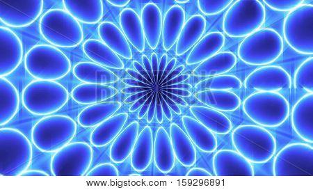 Kaleidoscope Lights. Blue Light. Glow lines and circles