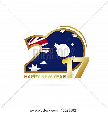 Year 2017 With Australia Flag Pattern. Happy New Year Design On White Background.