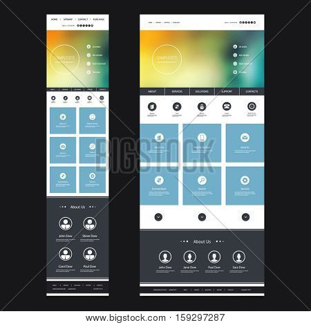 Responsive One Page Website Template with Blurred Background - Sunset Pattern Header Design - Desktop and Mobile Version