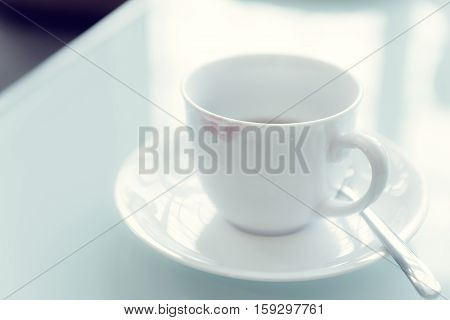 Lipstick Stain From A Woman On Ceramic Coffee Cup.