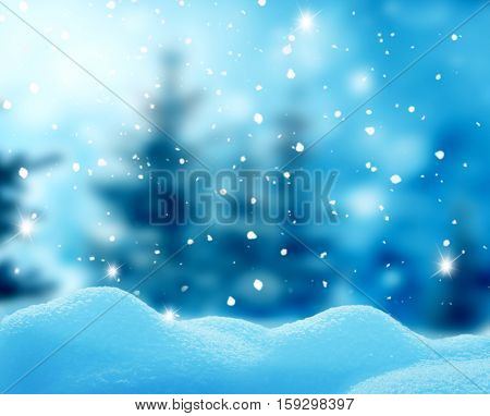 Christmas winter landscape with snow and blurred bokeh