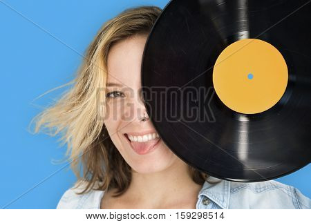 Woman Retro Vinyl Disc Jockey Music Concept