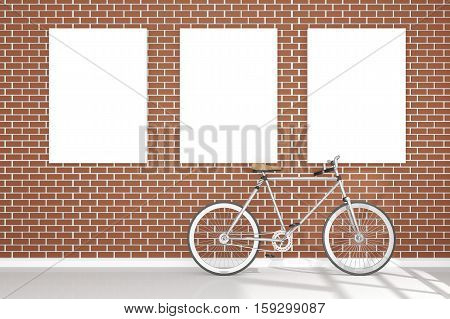3D Rendering : Illustration Of Retro Vintage Bicycle And Vintage Metal Lamp Hanging On The Roof Agai