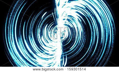 Abstract background with blue swirl particles. Art background