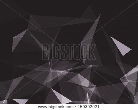 Black and White Abstract Polygonal Space Background with Connecting Dots and Lines | EPS10 Vector Illustration