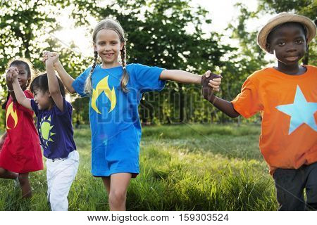 Child Friends Boys Girls Playful Nature Offspring Concept