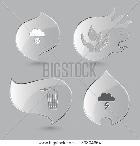 4 images: snowfall, life in hands, recycling bin, thunderstorm. Nature set. Glass buttons on gray background. Fire theme. Vector icons.