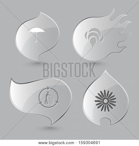 4 images: umbrella, bee, recycling bin, camomile. Nature set. Glass buttons on gray background. Fire theme. Vector icons.