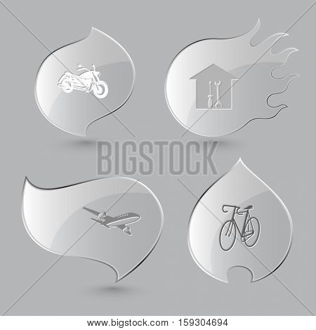 4 images: motorcycle, workshop, airliner, bicycle. Transport set. Glass buttons on gray background. Fire theme. Vector icons.