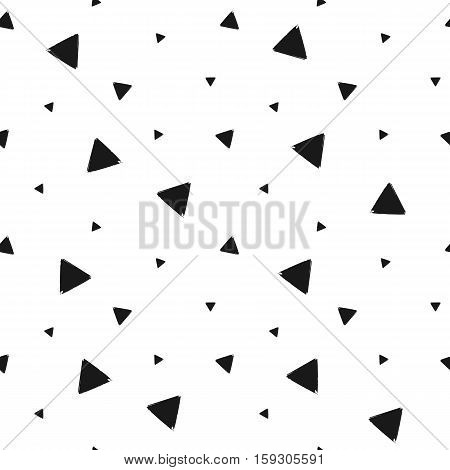 Geometric grunge seamless pattern of black triangle confetti on white background, hand drawn seamless background of black trigon, vector design textile, wallpaper, wrapping, fabric, paper