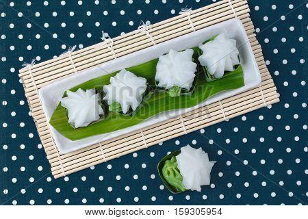 Thai dessert Sweet pandan juice cream topped coconut milk cream call TaKo in Thai